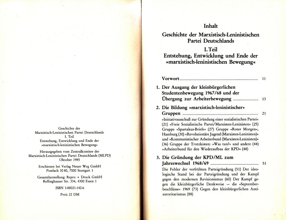 Geschichte der MLPD, I. Teil, Inhaltsverzeichnis