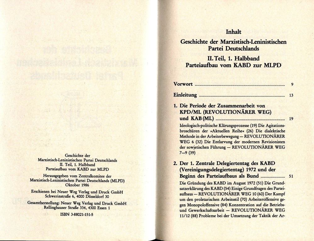 Geschichte der MLPD, II. Teil, 1. Halbband, Inhaltsverzeichnis