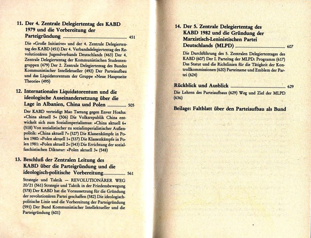 Geschichte der MLPD, II. Teil, 2. Halbband, Inhaltsverzeichnis