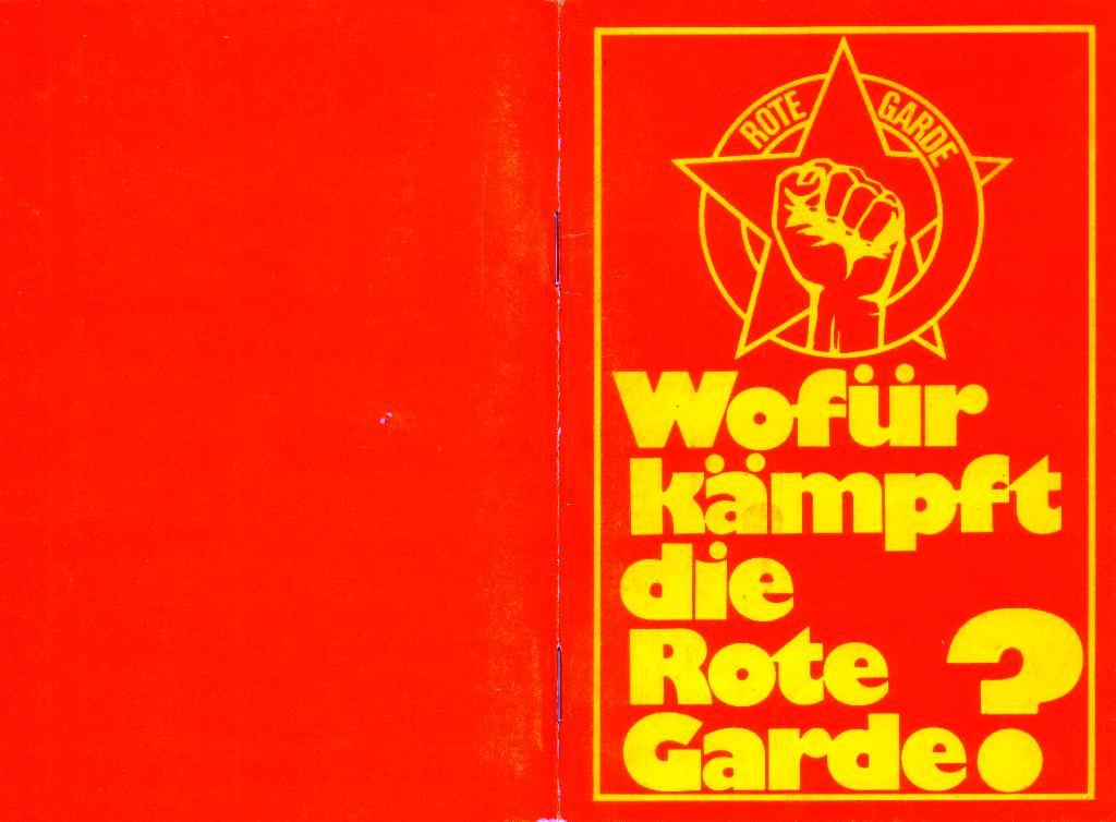 RG_Broschüre: Wofür kämpft die Rote Garde? (Mai 1978), Umschlag