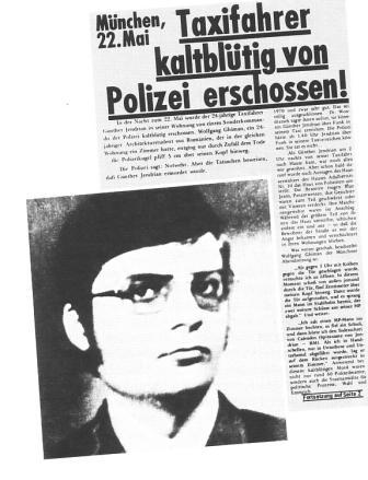 Taxifahrer kaltblütig von Polizei erschossen! (Artikel und Bild aus dem KPD/ML_Zentralorgan Roter Morgen, 1974)