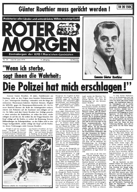 Roter Morgen vom 22. Juni 1974 zum Tod von Günter Routhier