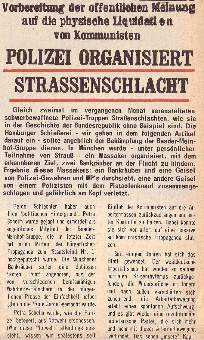 aus: Roter Morgen, 5. Jg., August 1971, Nr. 8, Seite 1a