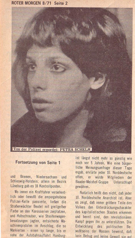 aus: Roter Morgen, 5. Jg., August 1971, Nr. 8, Seite 2a