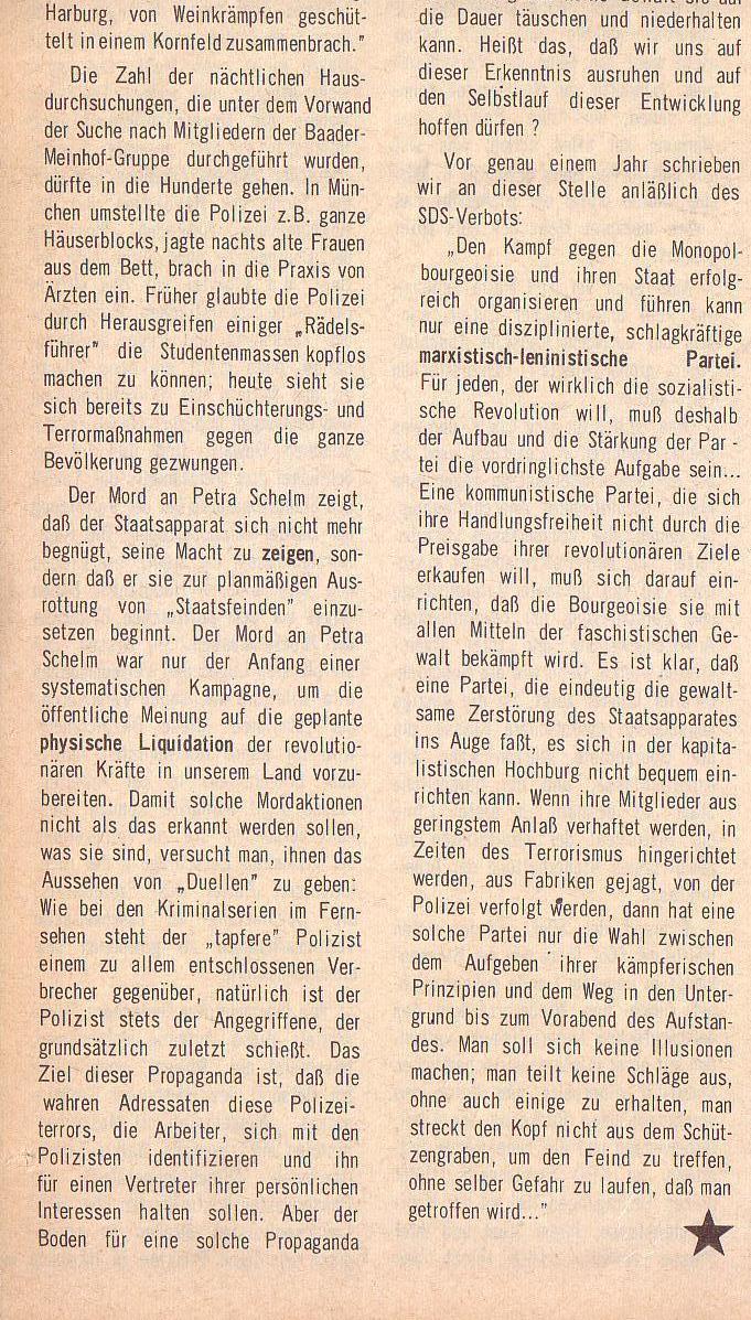 aus: Roter Morgen, 5. Jg., August 1971, Nr. 8, Seite 2b