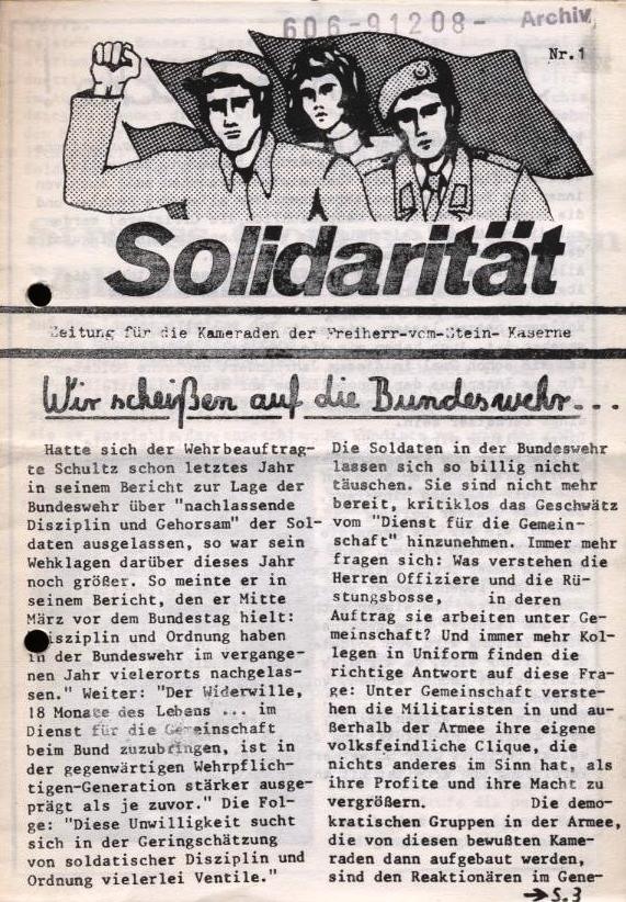 Solidarität _ Zeitung für die Kameraden der Freiherr_vom_Stein_Kaserne, Nr. 1 (Titelseite)