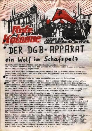 Rote Kolonne _ Zeitung der BASF_Betriebszelle der KPD/ML, April 1975