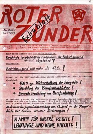 Roter Zunder _ Extrablatt _ Betriebszeitung der Revolutionären Jugend (Marxisten_Leninisten), der Jugendorganisation des Kommunistischen Arbeiterbundes Deutschlands für die BASF_Jugend