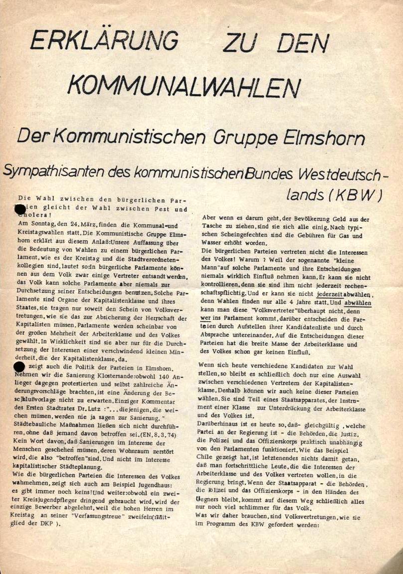 Erklärung zu den Kommunalwahlen der Kommunistischen Gruppe Elmshorn, Sympathisanten des KBW (Vorderseite)
