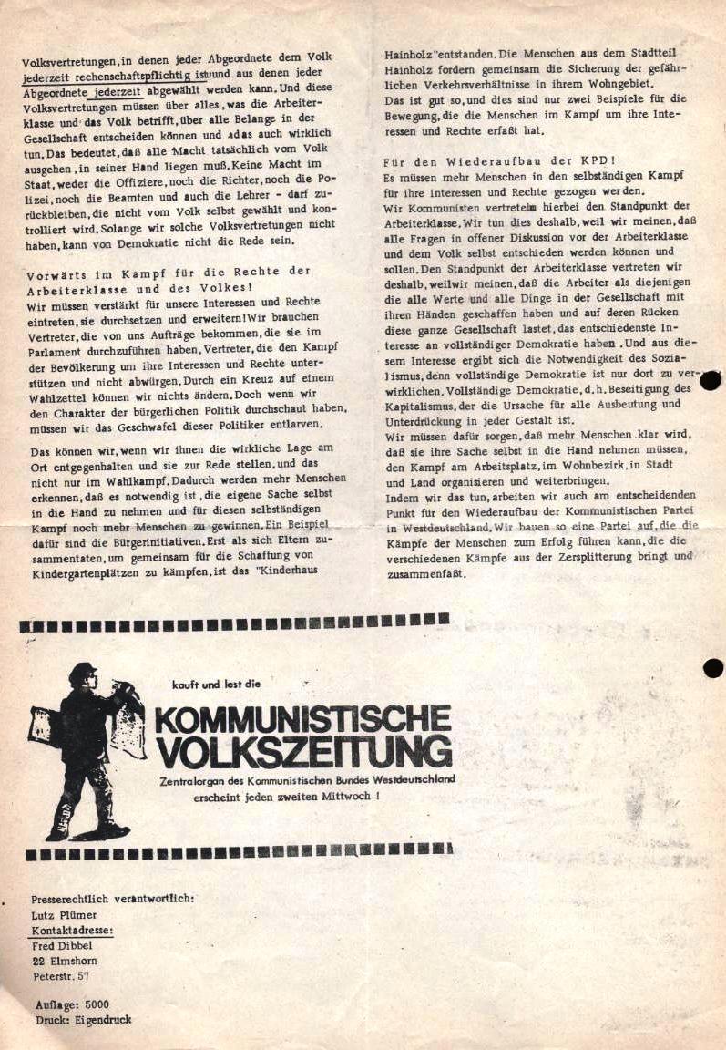 Erklärung zu den Kommunalwahlen der Kommunistischen Gruppe Elmshorn, Sympathisanten des KBW (Rückseite)