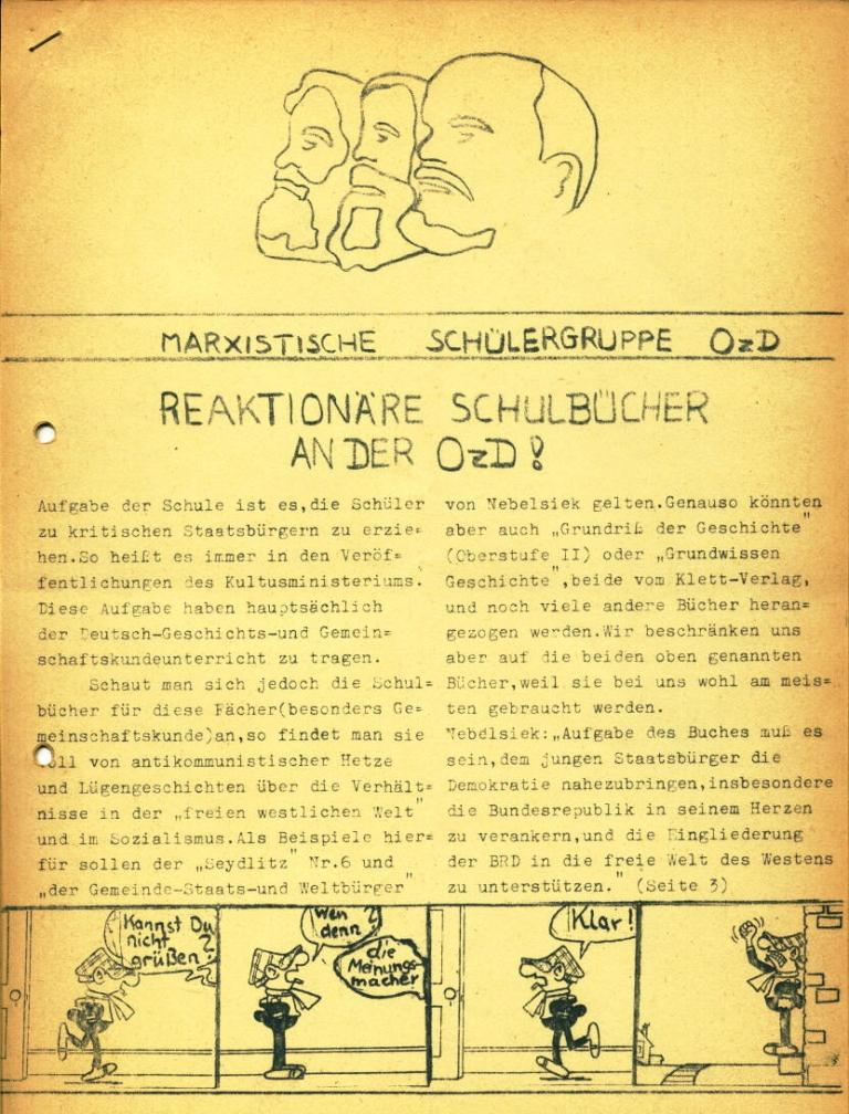 Marxistische Schülergruppe OzD: Info, Nr. 2, Lübeck, Dez. 1971, Seite 1