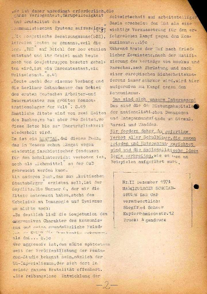 Marxistische Schülergruppe OzD: Info, Nr. 2, Lübeck, Dez. 1971, Seite 2