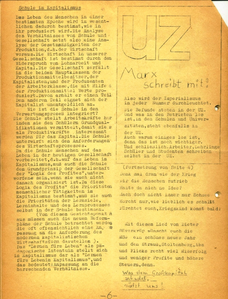 Marxistische Schülergruppe OzD: Info, Nr. 2, Lübeck, Dez. 1971, Seite 6