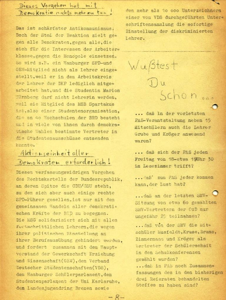 Marxistische Schülergruppe OzD: Info, Nr. 2, Lübeck, Dez. 1971, Seite 8