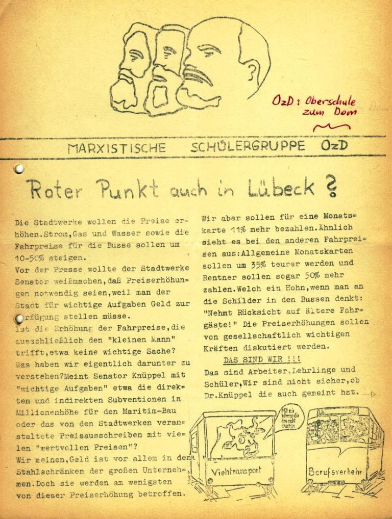 Marxistische Schülergruppe OzD: Info, Nr. 3, Lübeck, Jan. 1972, Seite 1
