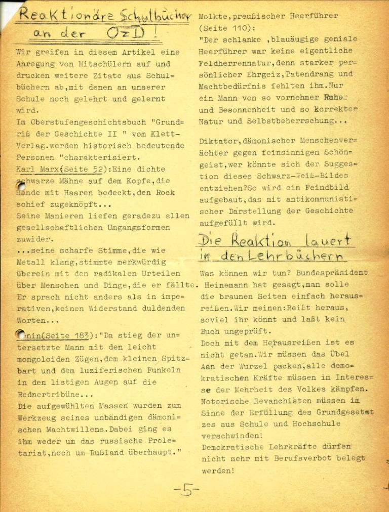 Marxistische Schülergruppe OzD: Info, Nr. 3, Lübeck, Jan. 1972, Seite 5