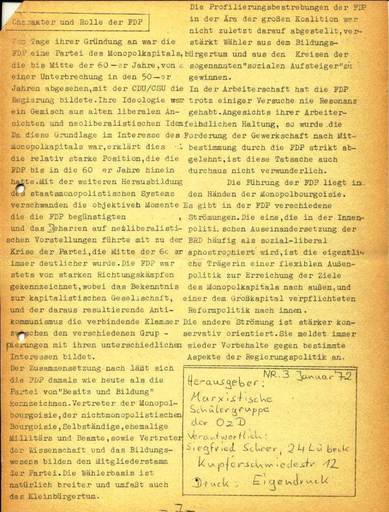 Marxistische Schülergruppe OzD: Info, Nr. 3, Lübeck, Jan. 1972, Seite 7