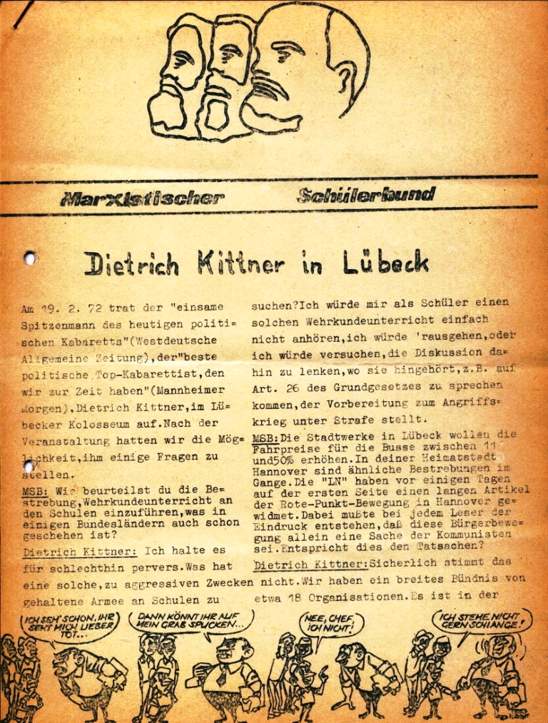 Marxistischer Schülerbund: Info, Nr. 4, Lübeck, Feb. 1972, Seite 1