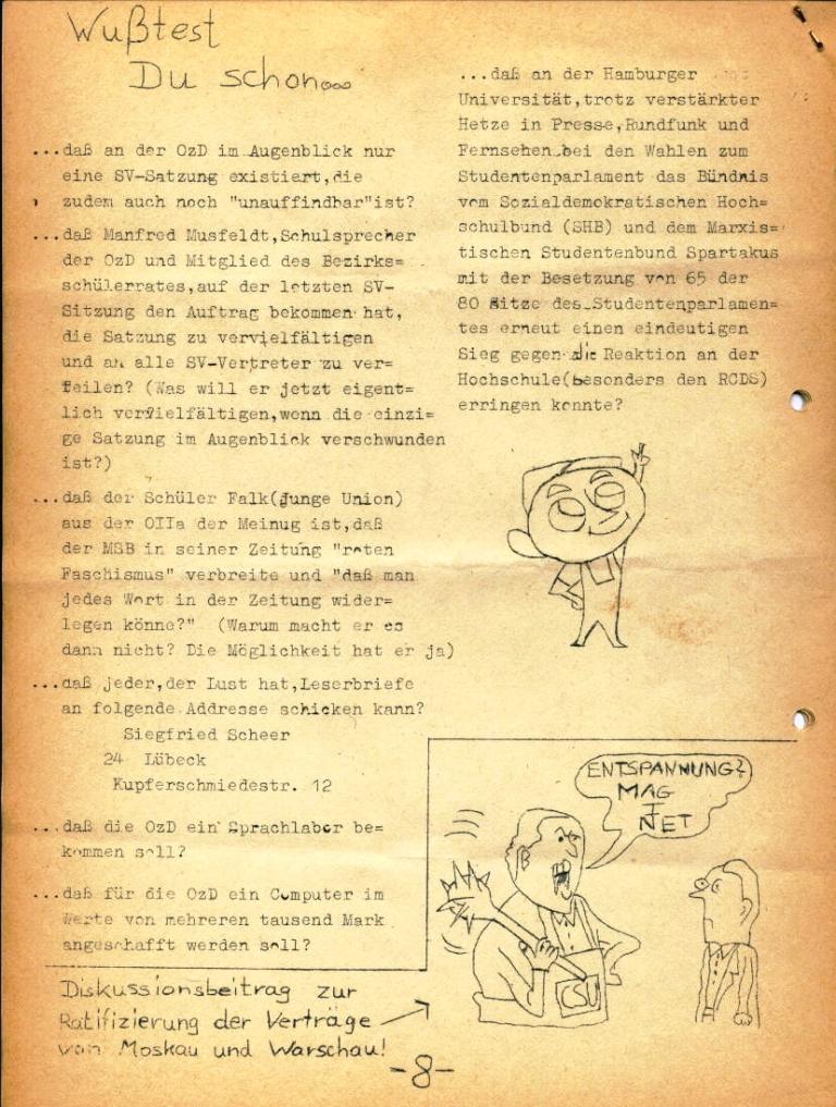 Marxistischer Schülerbund: Info, Nr. 4, Lübeck, Feb. 1972, Seite 8