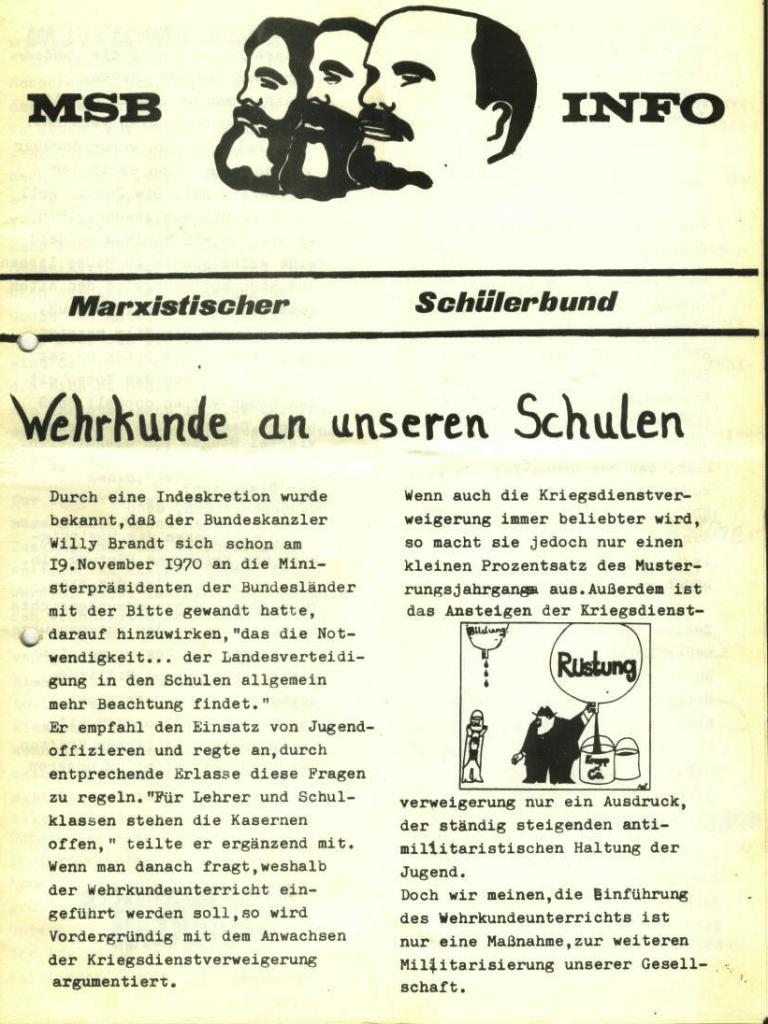 Marxistischer Schülerbund: Info, Nr. 5, Lübeck, 1972, Seite 1