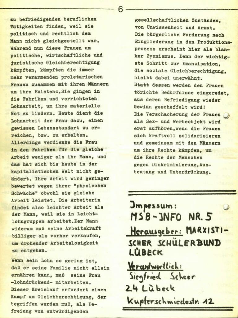 Marxistischer Schülerbund: Info, Nr. 5, Lübeck, 1972, Seite 6