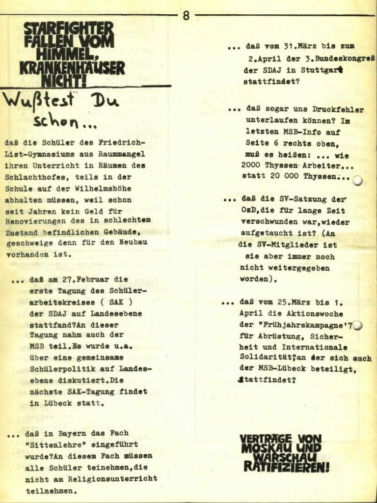 Marxistischer Schülerbund: Info, Nr. 5, Lübeck, 1972, Seite 8