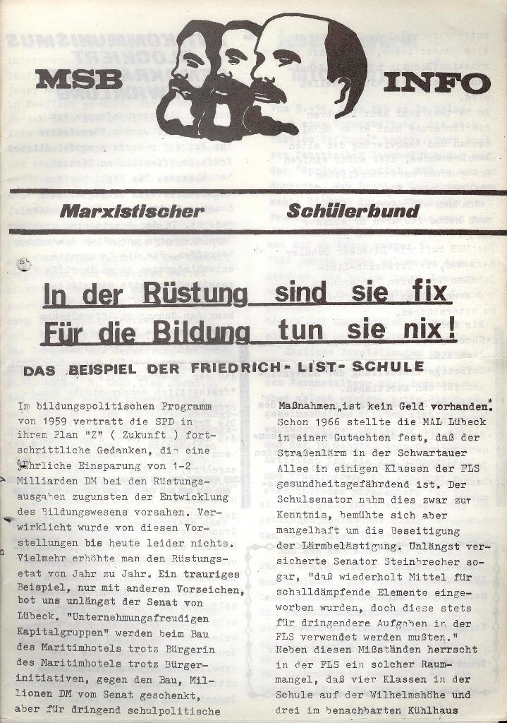 Marxistischer Schülerbund: Info, Nr. 6, Lübeck, April 1972, Seite 1