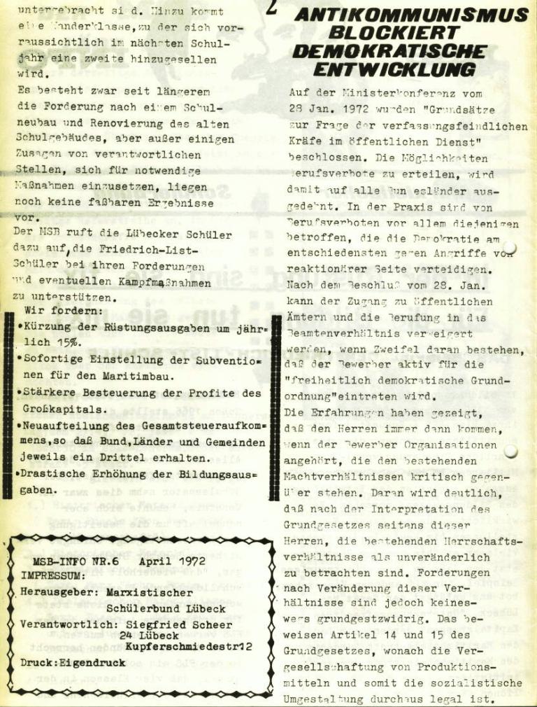 Marxistischer Schülerbund: Info, Nr. 6, Lübeck, April 1972, Seite 2