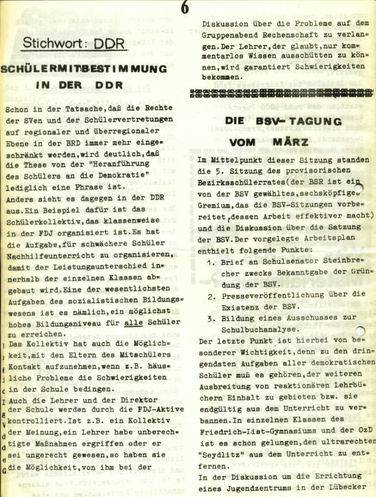Marxistischer Schülerbund: Info, Nr. 6, Lübeck, April 1972, Seite 6