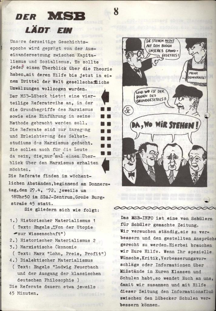 Marxistischer Schülerbund: Info, Nr. 6, Lübeck, April 1972, Seite 8
