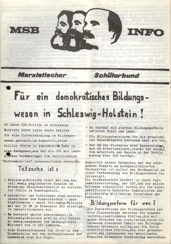 Marxistischer Schülerbund: Info, Nr. 7, Lübeck, Mai/Juni 1972, Seite 1