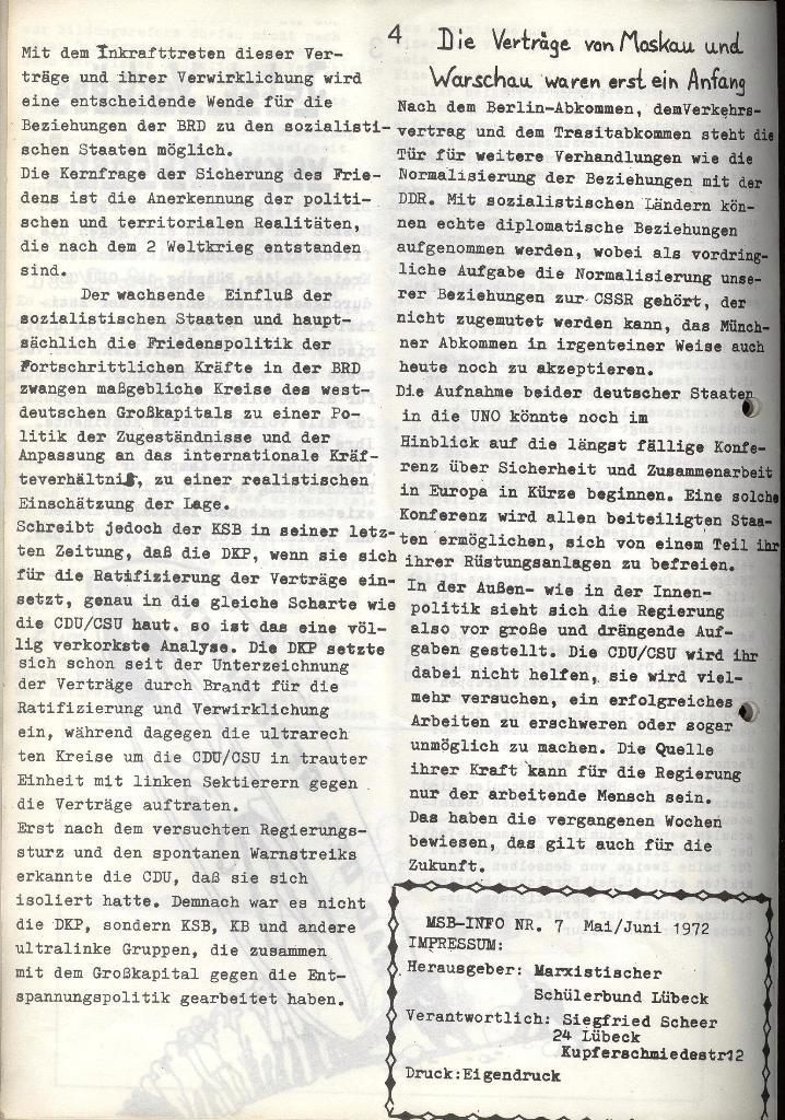 Marxistischer Schülerbund: Info, Nr. 7, Lübeck, Mai/Juni 1972, Seite 4