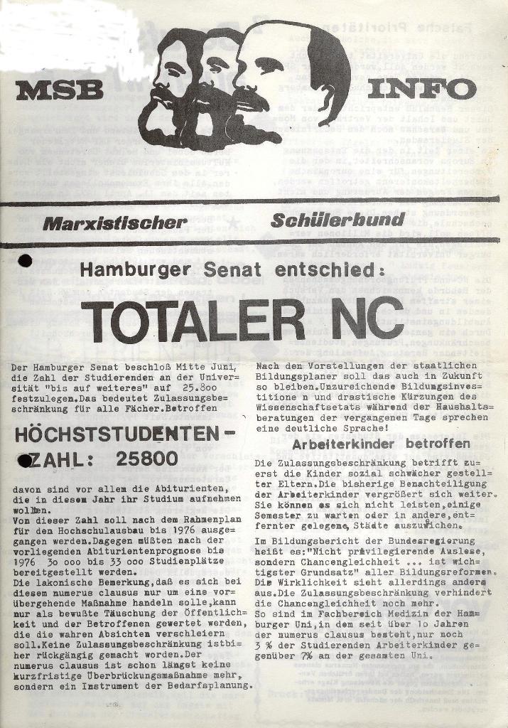 Marxistischer Schülerbund: Info, Nr. 8, Lübeck, Juli 1972, Seite 1