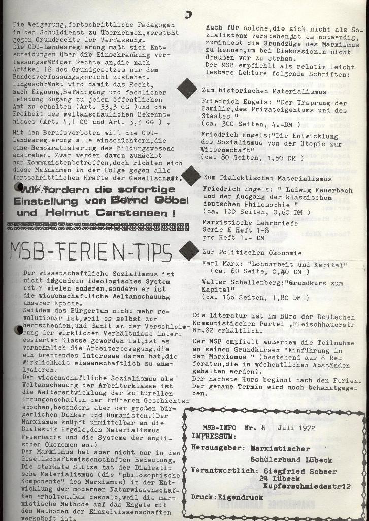 Marxistischer Schülerbund: Info, Nr. 8, Lübeck, Juli 1972, Seite 3