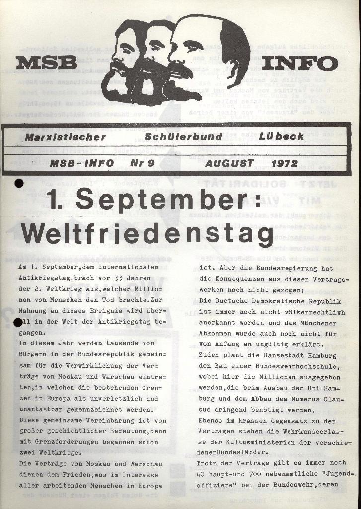 Marxistischer Schülerbund: Info, Nr. 9, Lübeck, Juli 1972, Seite 1