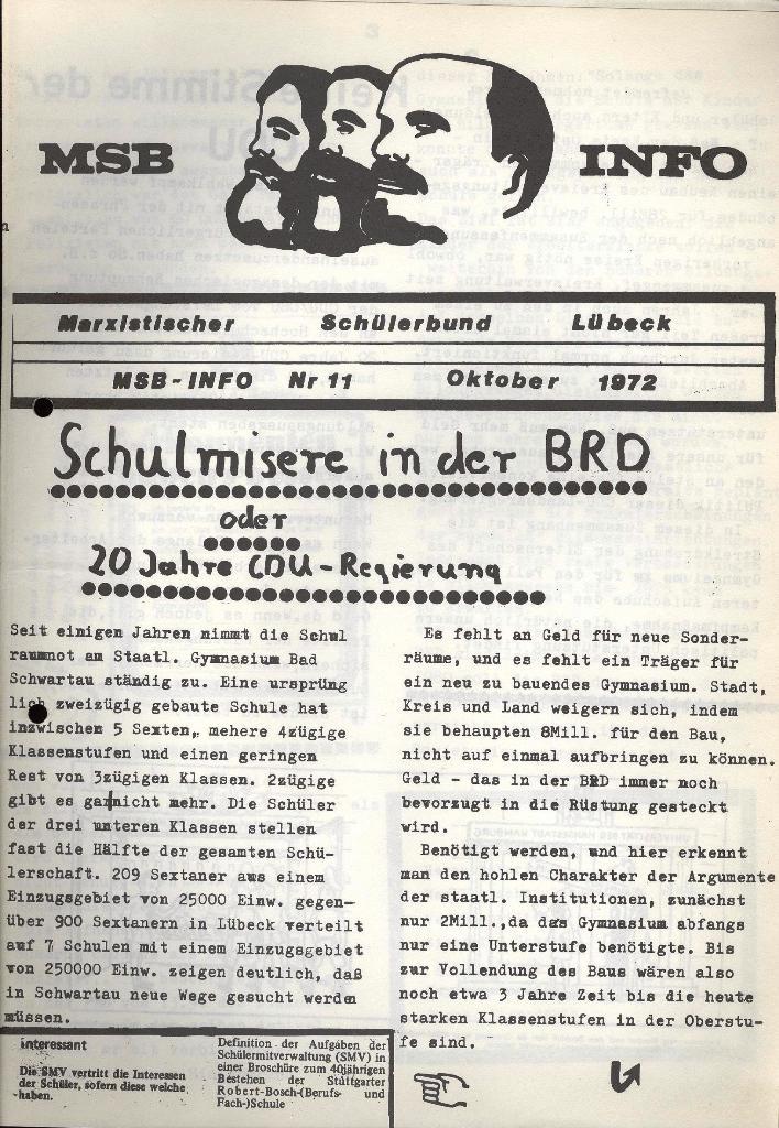 Marxistischer Schülerbund: Info, Nr. 11, Lübeck, Oktober 1972, Seite 1