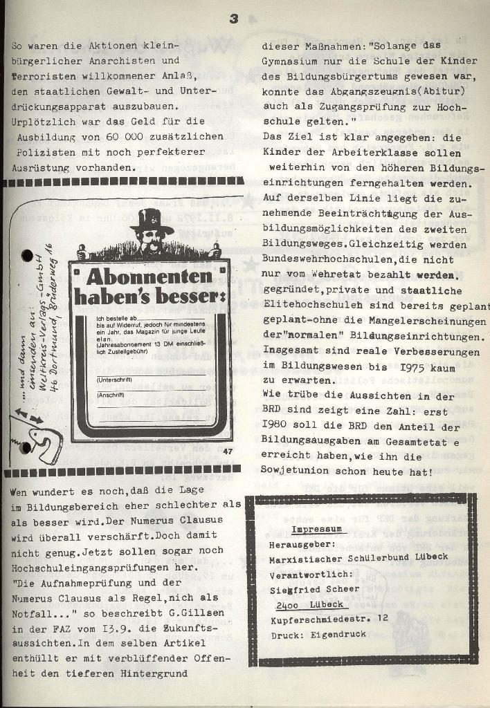 Marxistischer Schülerbund: Info, Nr. 11, Lübeck, Oktober 1972, Seite 3