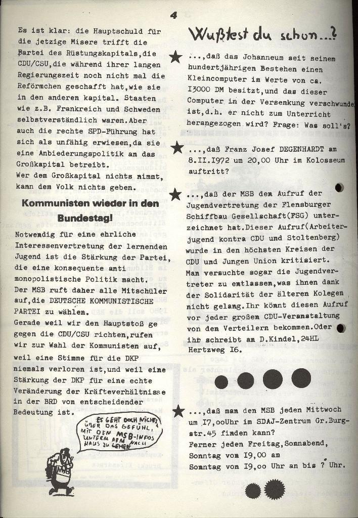 Marxistischer Schülerbund: Info, Nr. 11, Lübeck, Oktober 1972, Seite 4