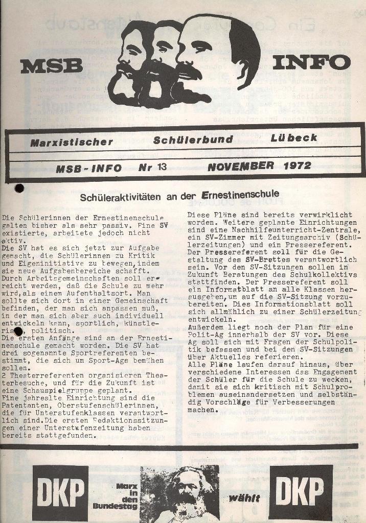 Marxistischer Schülerbund: Info, Nr. 13, Lübeck, November 1972, Seite 1