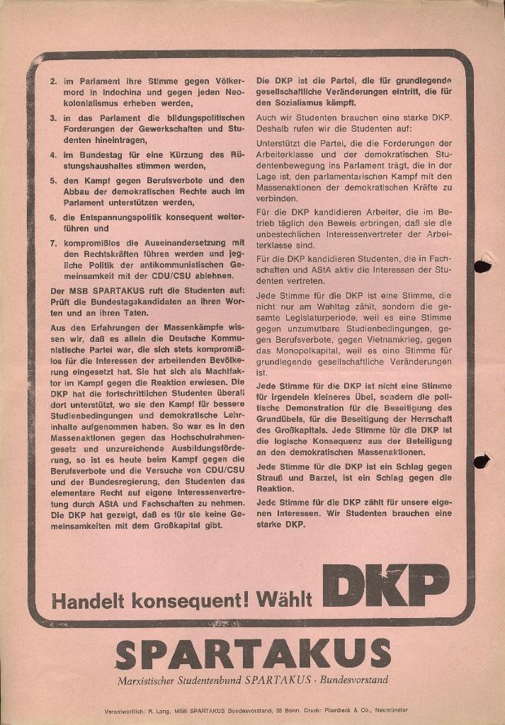 Wahlaufruf (Rückseite)