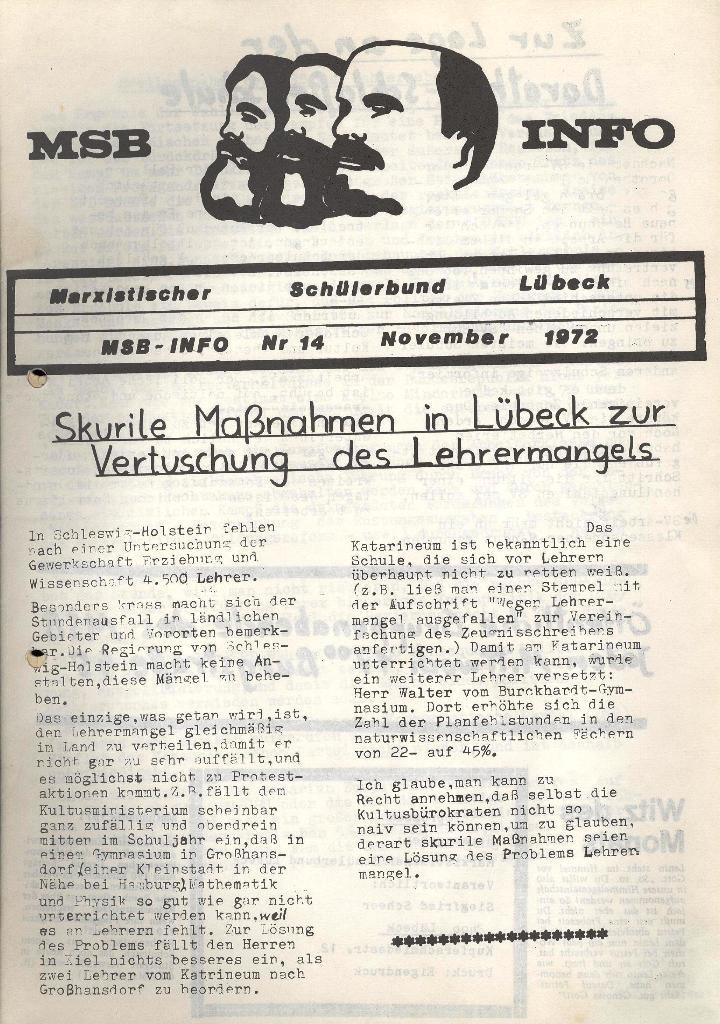 Marxistischer Schülerbund: Info, Nr. 14, Lübeck, November 1972, Seite 1