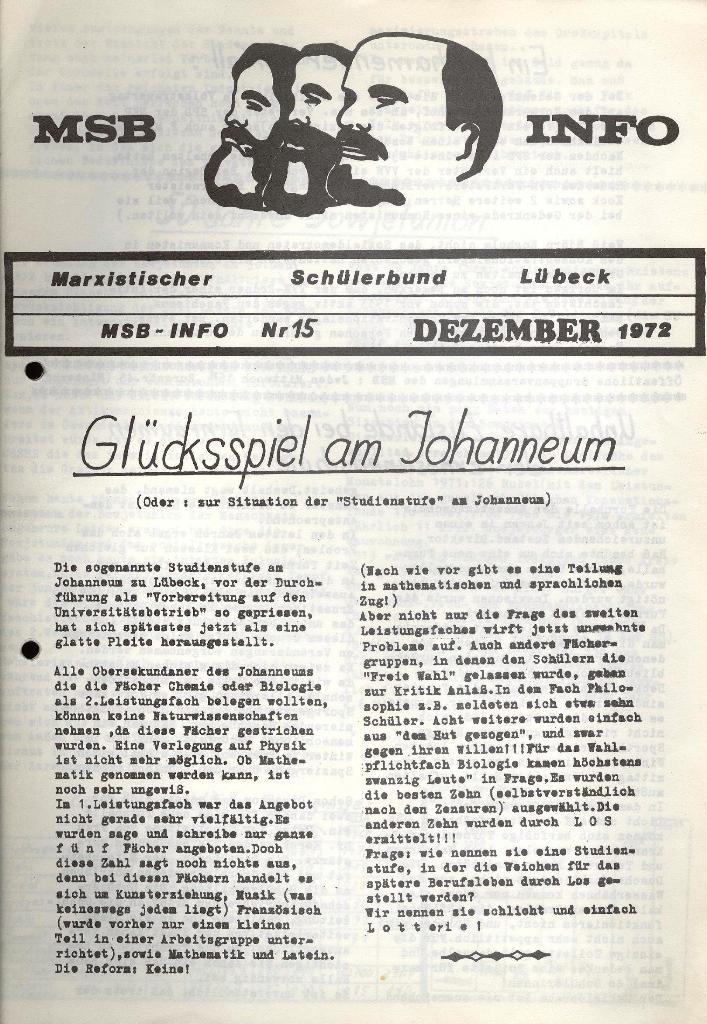 Marxistischer Schülerbund: Info, Nr. 15, Lübeck, Dezember 1972, Seite 1