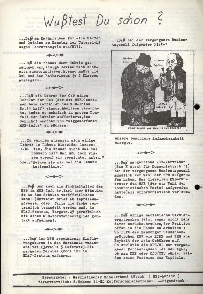 Marxistischer Schülerbund: Info, Nr. 15, Lübeck, Dezember 1972, Seite 4