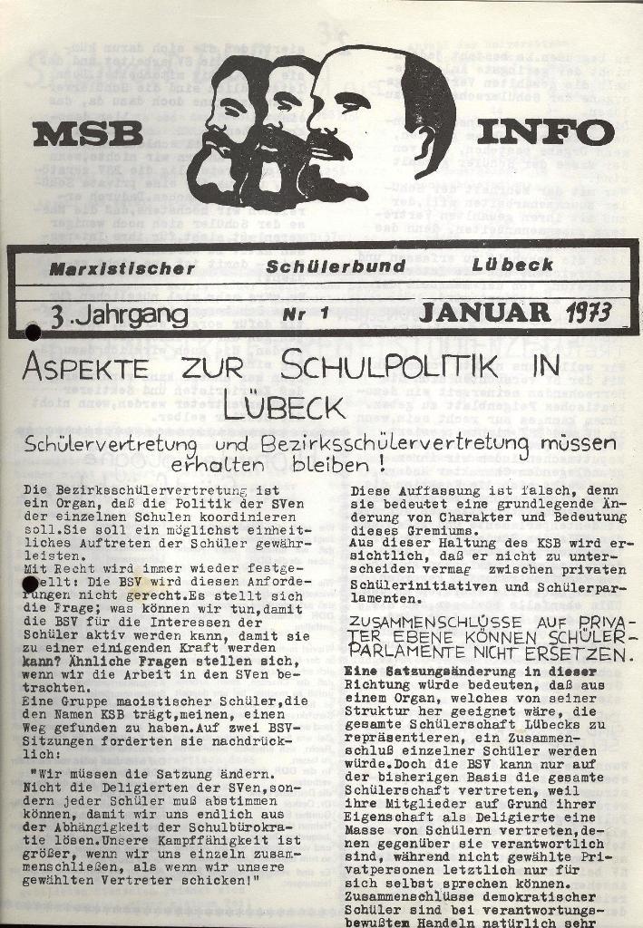 Marxistischer Schülerbund: Info, 3. Jg., Nr. 1, Lübeck, Januar 1973, Seite 1