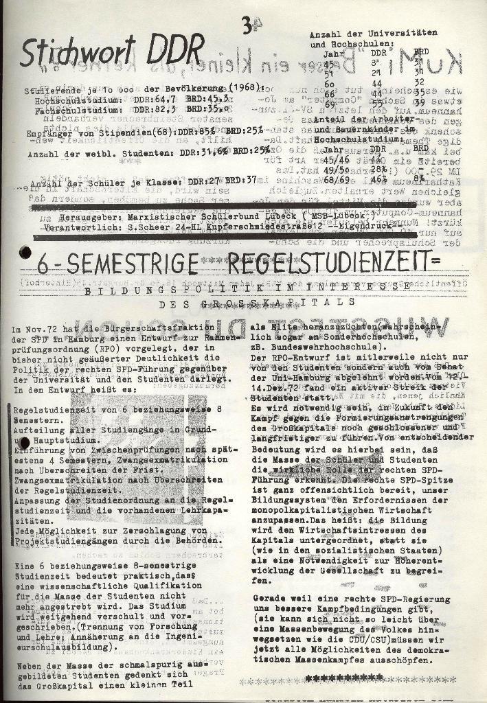Marxistischer Schülerbund: Info, 3. Jg., Nr. 1, Lübeck, Januar 1973, Seite 3