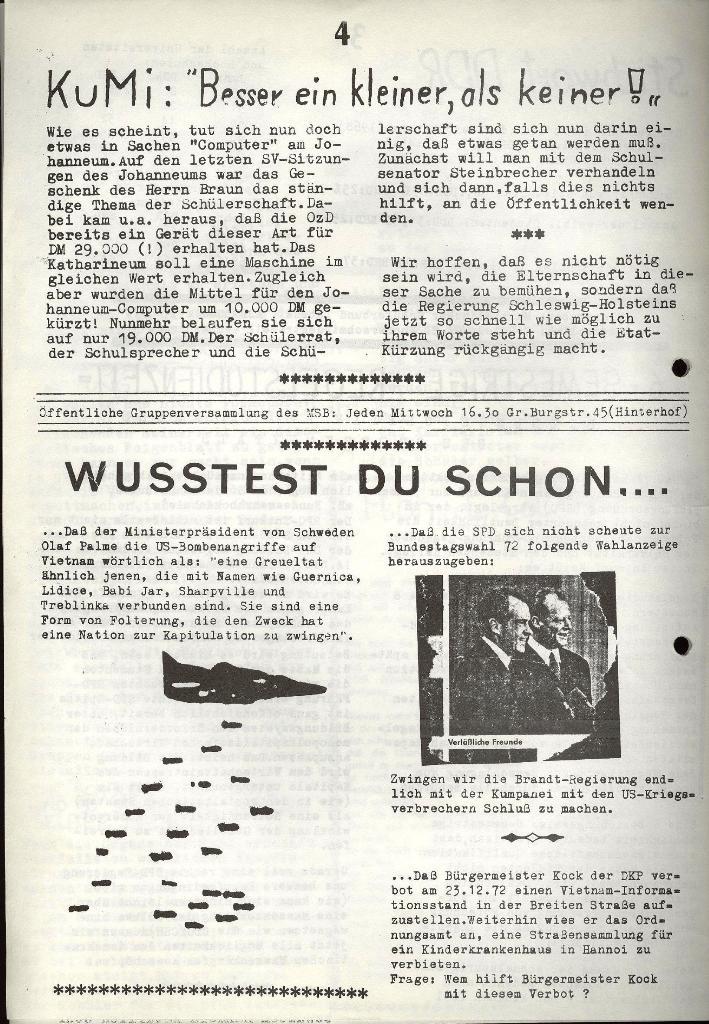 Marxistischer Schülerbund: Info, 3. Jg., Nr. 1, Lübeck, Januar 1973, Seite 4