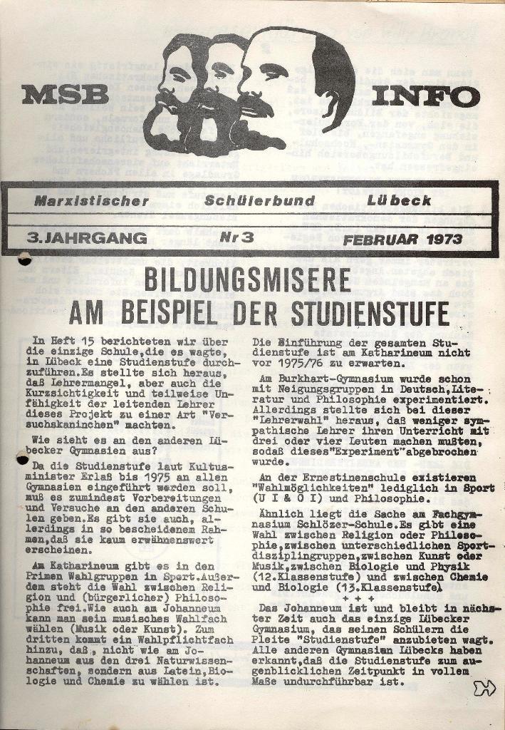 Marxistischer Schülerbund: Info, 3. Jg., Nr. 3, Lübeck, Februar 1973, Seite 1