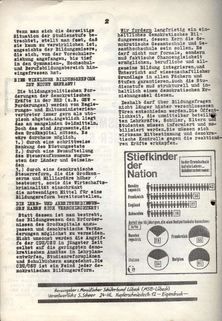 Marxistischer Schülerbund: Info, 3. Jg., Nr. 3, Lübeck, Februar 1973, Seite 2
