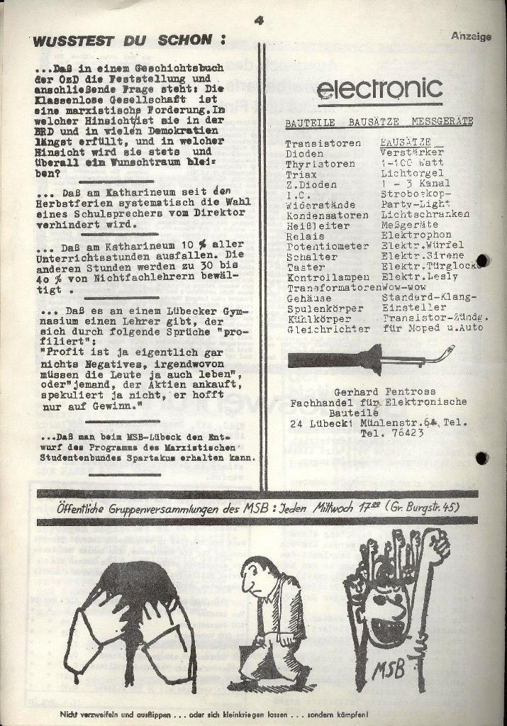 Marxistischer Schülerbund: Info, 3. Jg., Nr. 3, Lübeck, Februar 1973, Seite 4