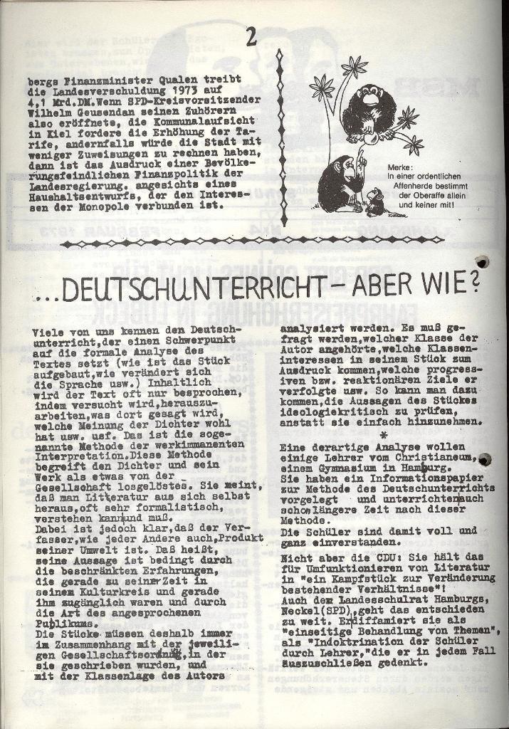 Marxistischer Schülerbund: Info, 3. Jg., Nr. 4, Lübeck, Februar 1973, Seite 2